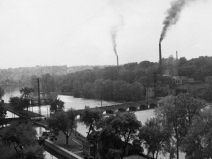 Appleton Wisconsin, Fox River. View of lock #4 from the bluffs of Telulah Park, looking southwest, circa 1947 to 1952.