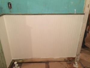 Painted wall behind radiator in Dining Room