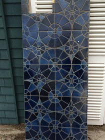 Beautiful blue tiled counter saved from destruction by Kim Krzycki's eye for things like this.