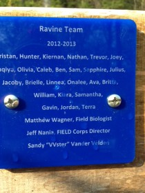 Green Team plaque from Fox River Academy restoration site